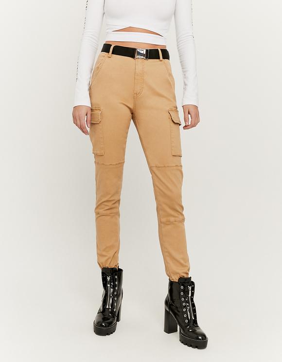 Pantalon Cargo Taille Haute Beige