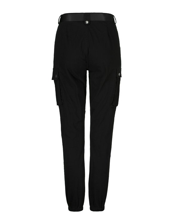 Black Cargo Trousers with Button Details