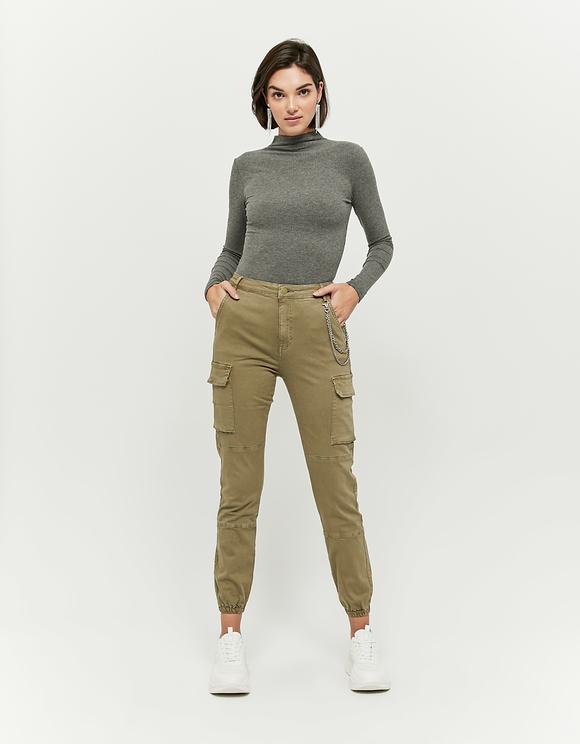 Pantalon Cargo Taille Haute Olive