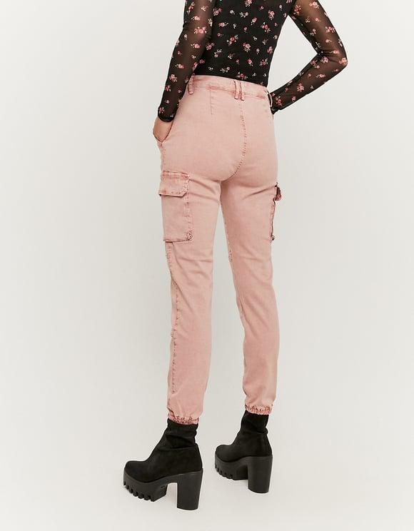 Różowe spodnie Cargo z wysokim stanem