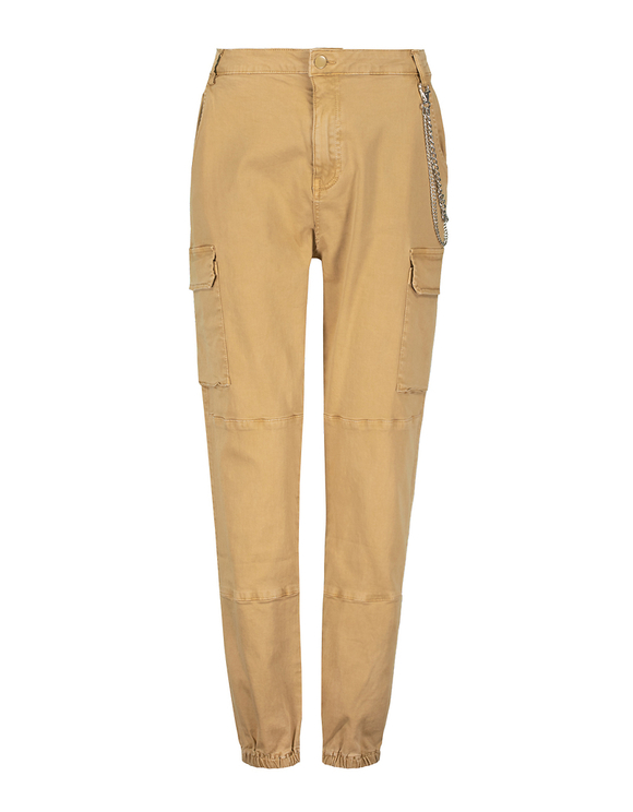 High Waist Beige Cargo Trousers with Chain