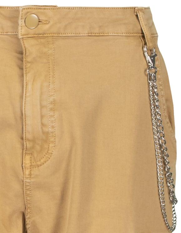 Pantaloni Cargo Beige a Vita Alta con Catena