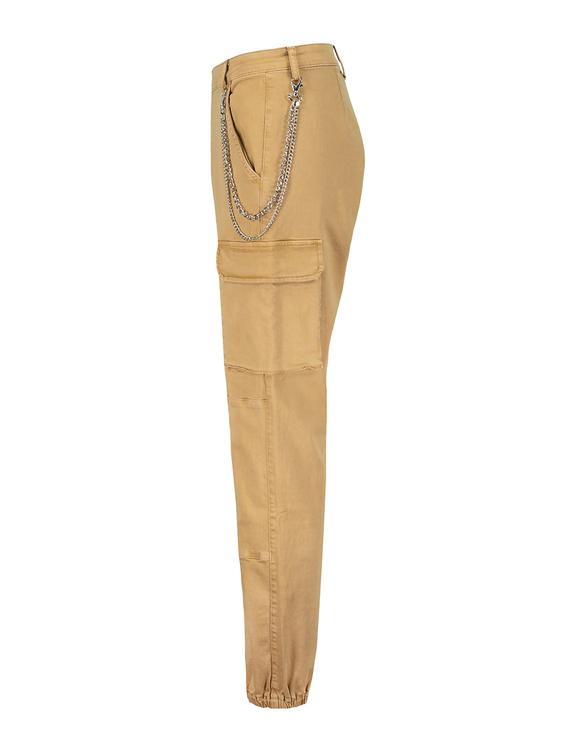 Pantalon Cargo Taille Haute Beige avec Chaîne