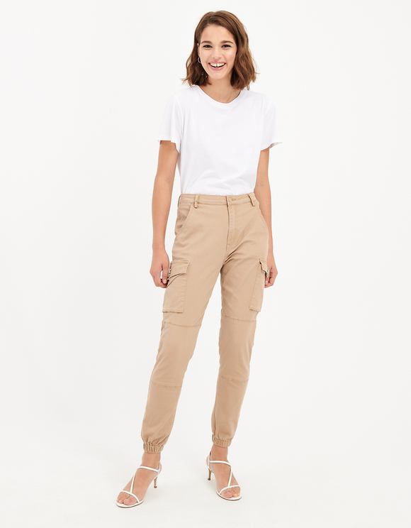 Pantalon Cargo avec Boutons en Strass