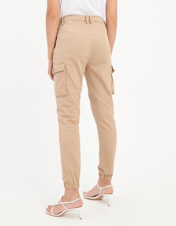 Beige Embellished Cargo Pants