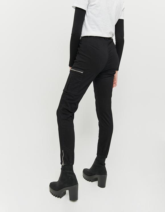 Pantalon Cargo Noir Zippé