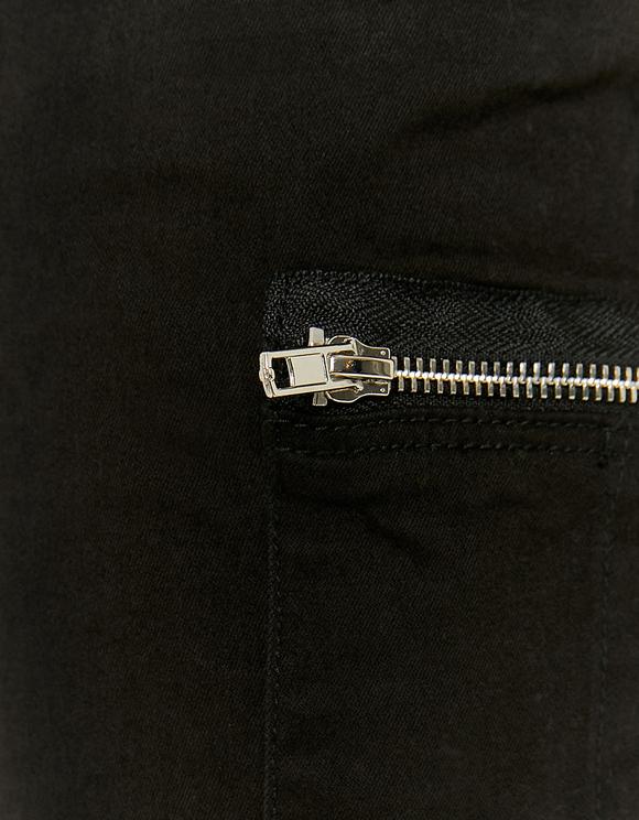 Black High Waist Zipped Cargo