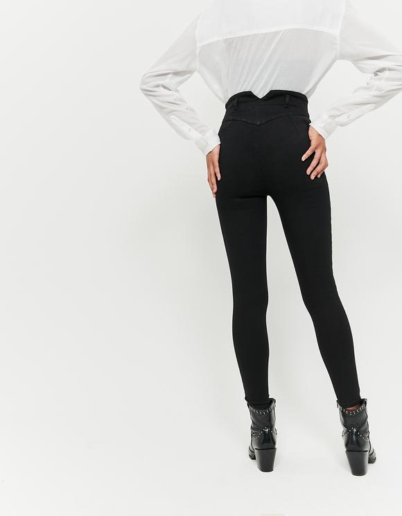 Jean Skinny Taille Très Haute Boutonné