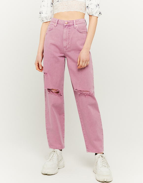 High Waist Ripped Mom Trousers