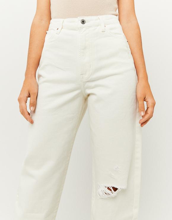 Białe spodnie Mom z wysokim stanem