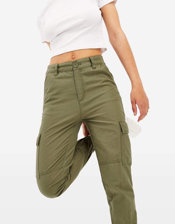 Khaki High Waist Cargo Trousers