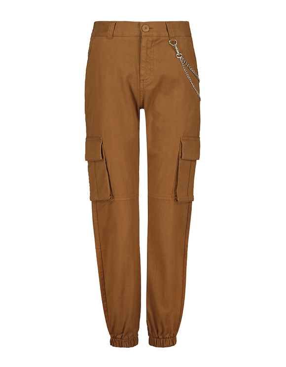 High Waist Loose Utility Cargo Pants with Chain