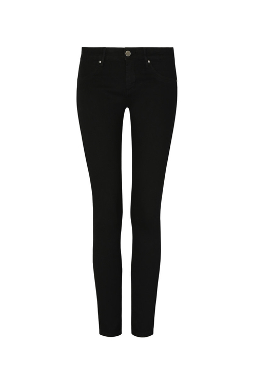 Medium Waist Button Front Skinny Trousers
