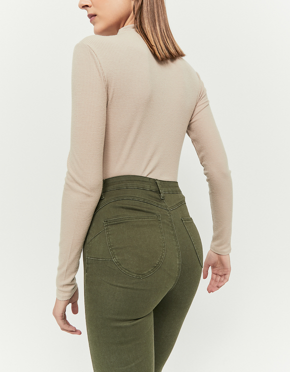 Khaki High Waist Push Up Pants
