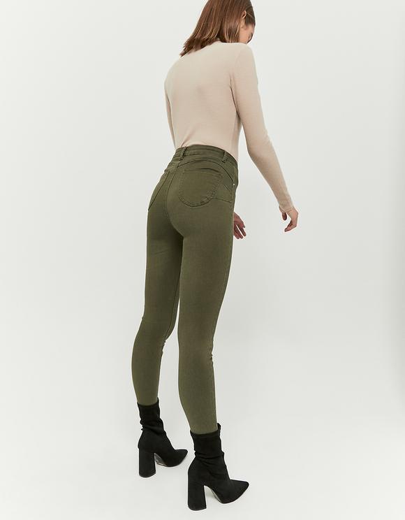 Khaki High Waist Push Up Pants