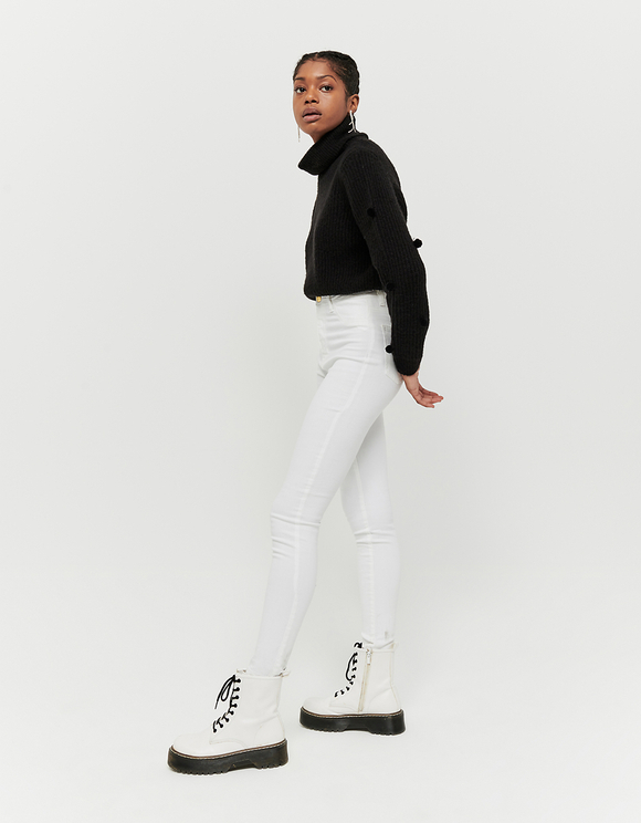 Białe spodnie Skinny z wysokim stanem