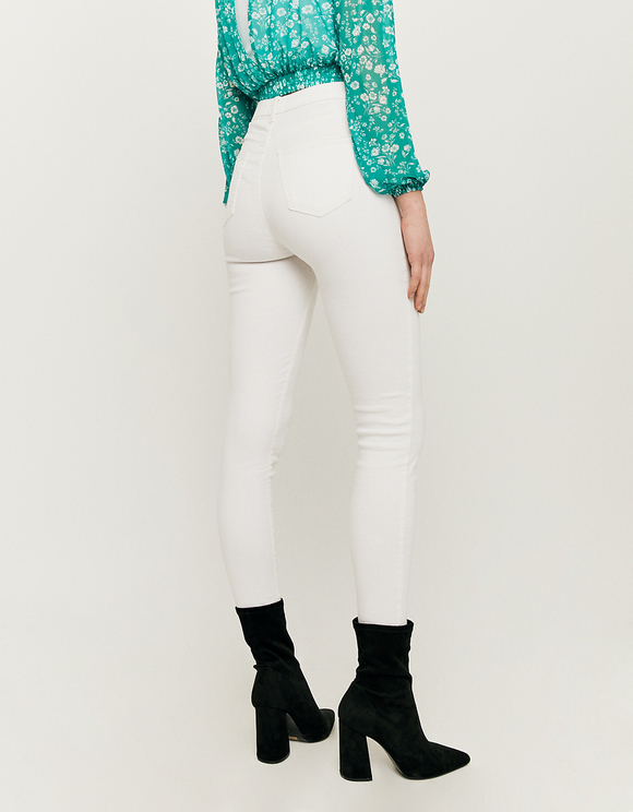 White High Waist Skinny Trousers