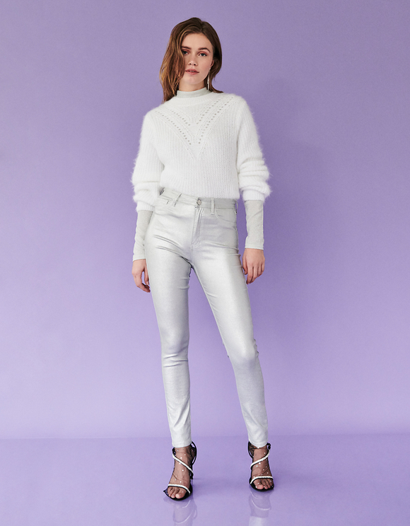 Silver High Waist Skinny Coated Pants