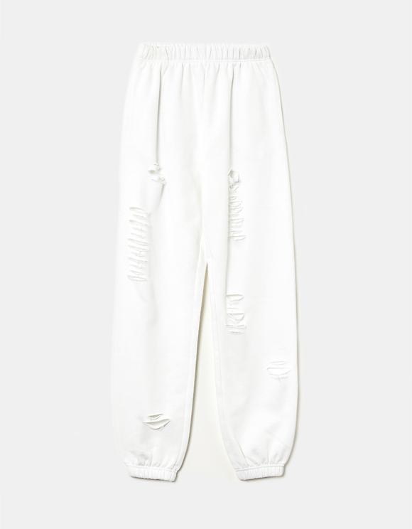 Pantaloni da Jogging a Vita Alta Strappati