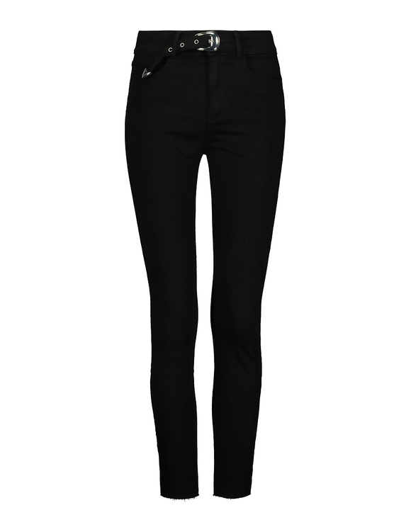 High Waist Skinny Trousers With Buckle
