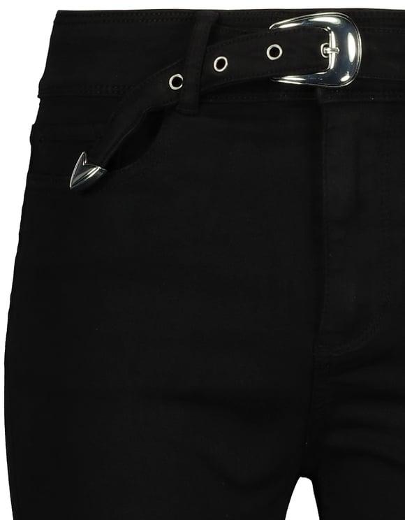High Waist Skinny Hose mit Schnalle