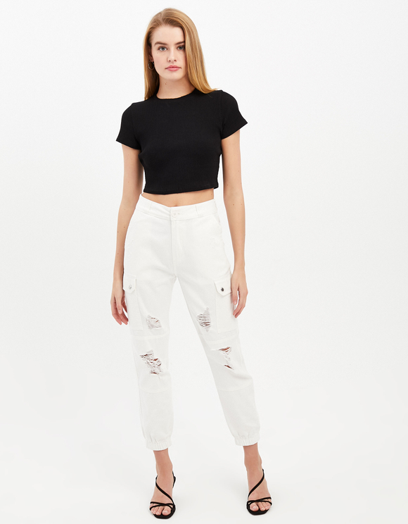 High Waist Destroy Cargo Trousers