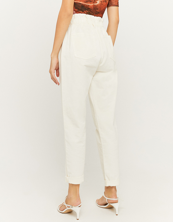 White Loose Pants with Rope Belt