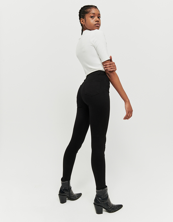 Black High Waist Skinny Trousers