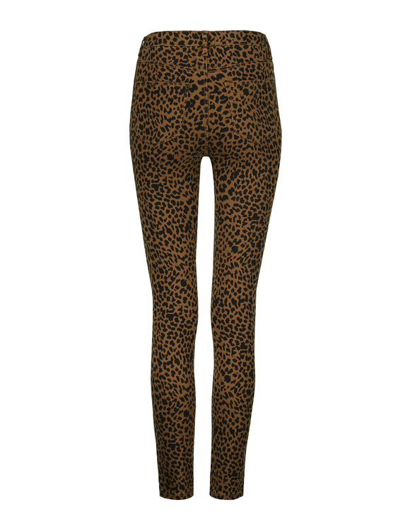 High Waist Skinny Hose mit Leo-Muster