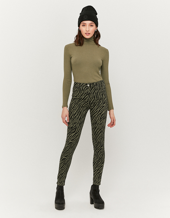 Spodnie Skinny ze wzorem w zebrę z wysokim stanem