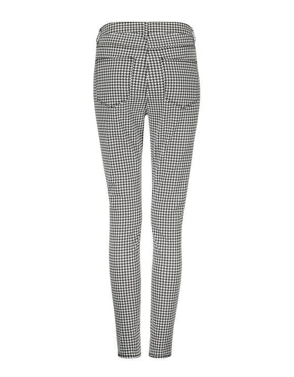 Pantalon Skinny Taille Haute Pied-de-Poule