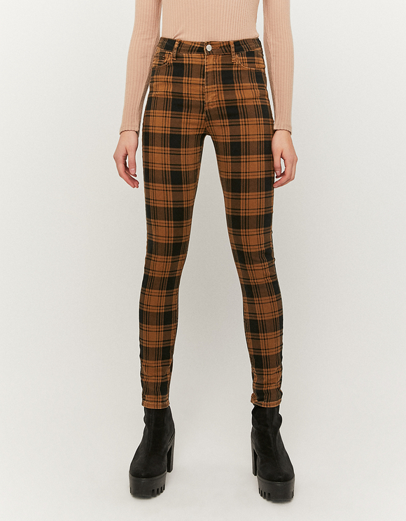 High Waist Check Skinny Pants