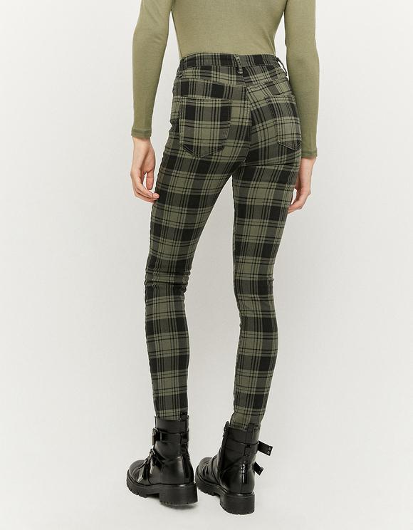 Pantaloni Skinny a Quadri a Vita Alta