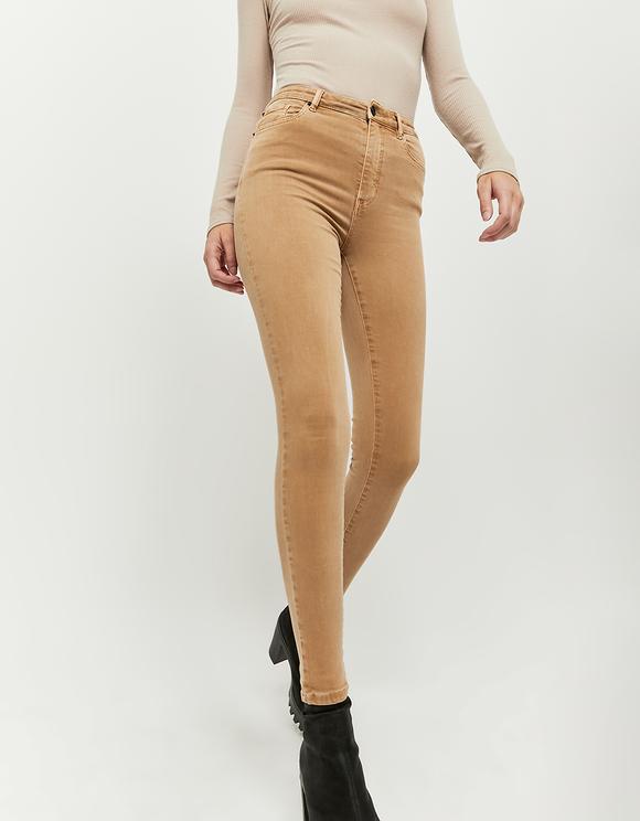 Karmelowe spodnie Skinny z wysokim stanem