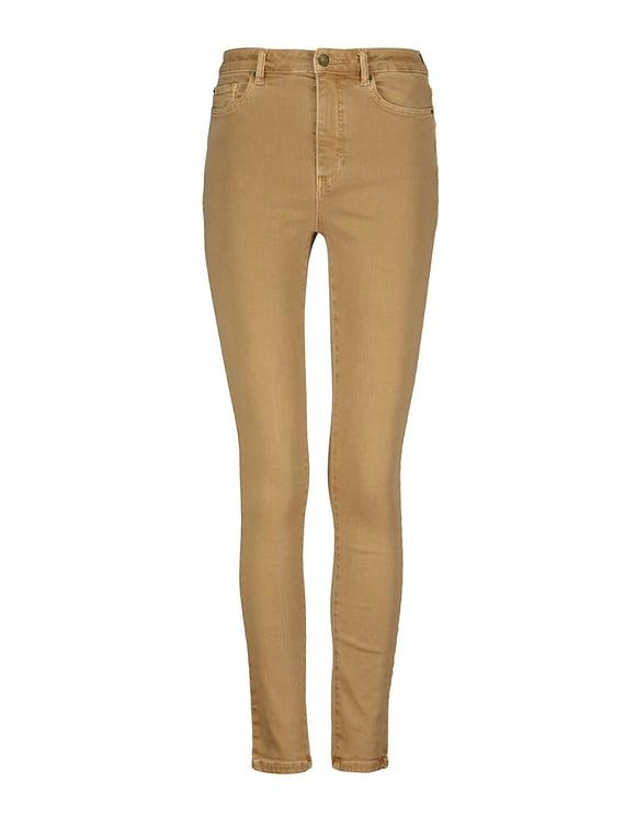 Pantaloni Skinny Beige a Vita Alta