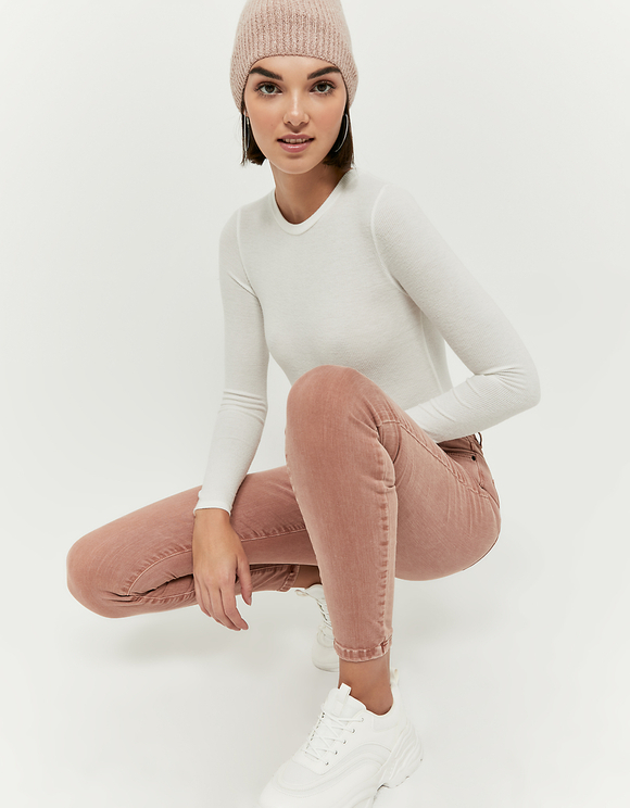 Rusty Pink High Waist Skinny Pants