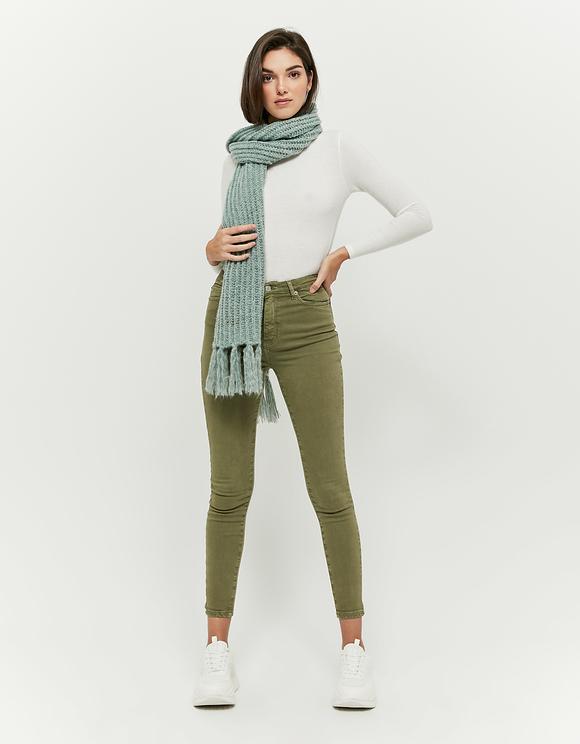 Oliwkowe spodnie Skinny z wysokim stanem