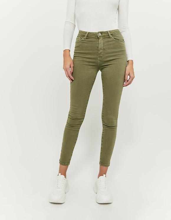 Pantaloni Skinny Verde Oliva a Vita Alta
