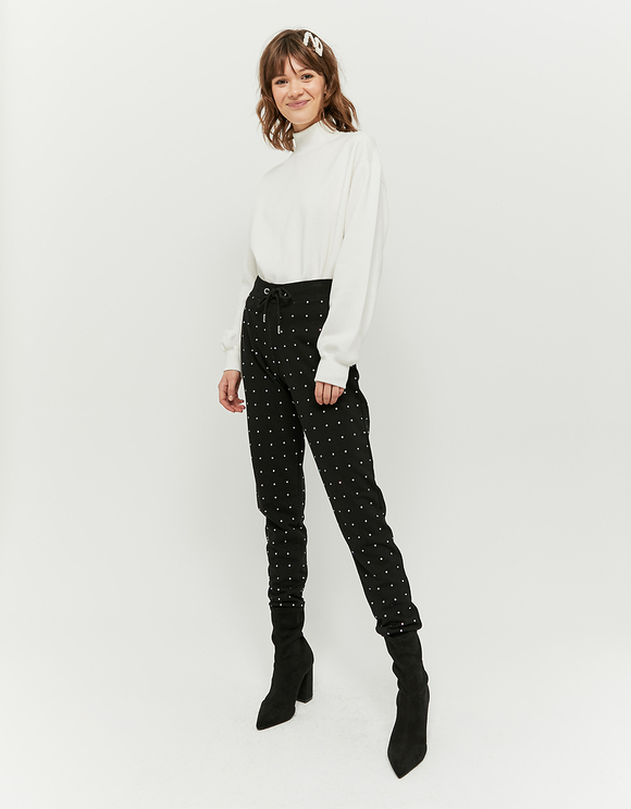 Black Jogger Pants with Rhinestones