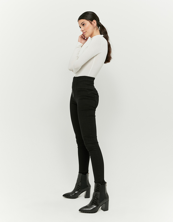 Very High Waist Zipped Skinny Pants