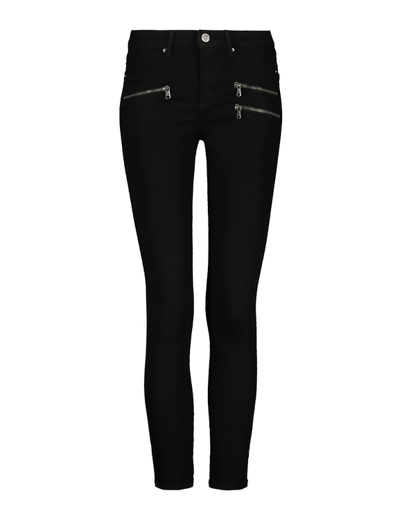 Low Waist Zip Detail Skinny Trousers