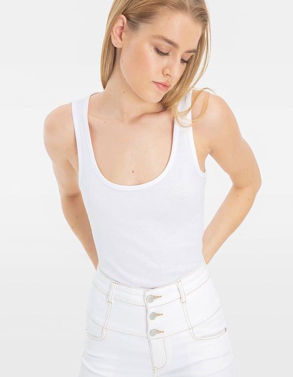 Pantalon Blanc Taille Très Haute
