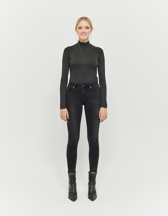 Czarne jeansy Skinny z niskim stanem