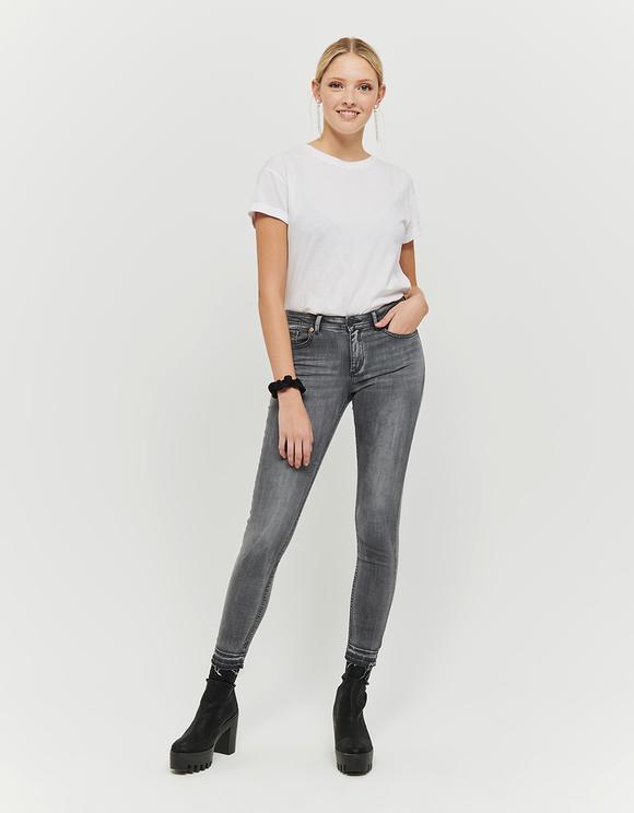 Szare jeansy Skinny z niskim stanem