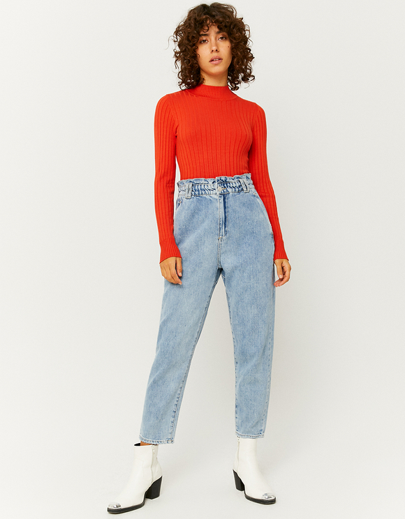High Waist Paperbag Mom Jeans