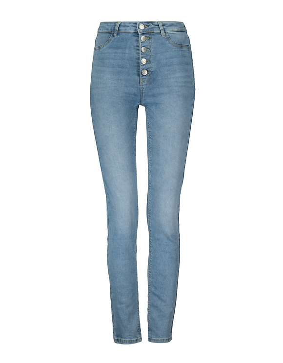 High Waist Button Up Skinny Jeans