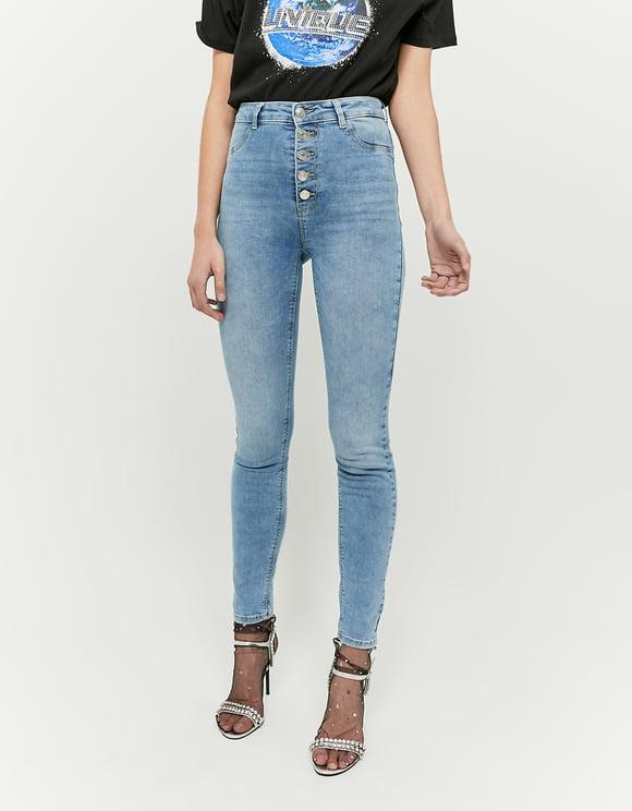 Pantalon Skinny Taille Haute Boutonné