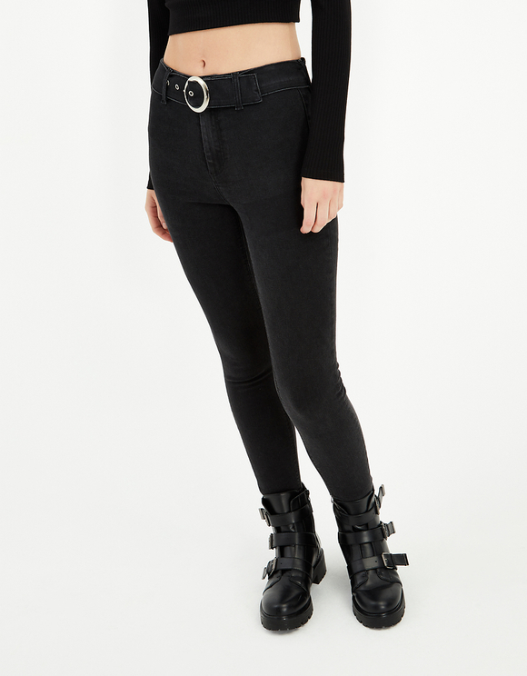 Jean Skinny Taille Haute avec Ceinture