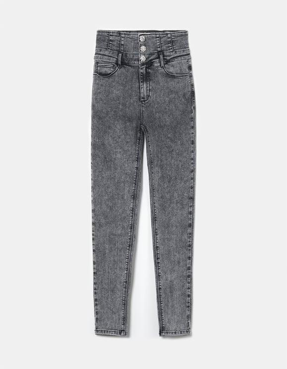 High Waist Skinny Jeans mit Korsett-Effekt