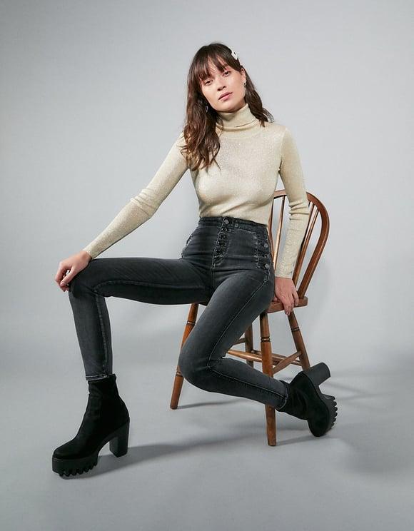 Pantaloni Skinny a Vita Alta con Bottoni